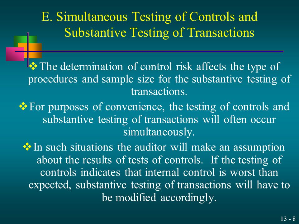 E. Simultaneous Testing of Controls and Substantive Testing of Transactions