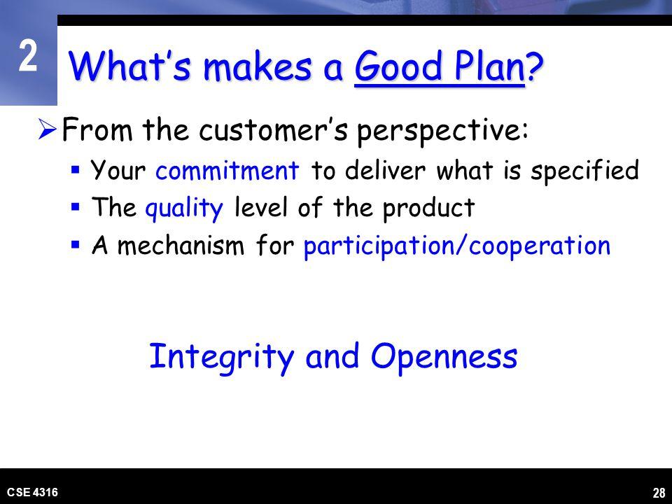What's makes a Good Plan