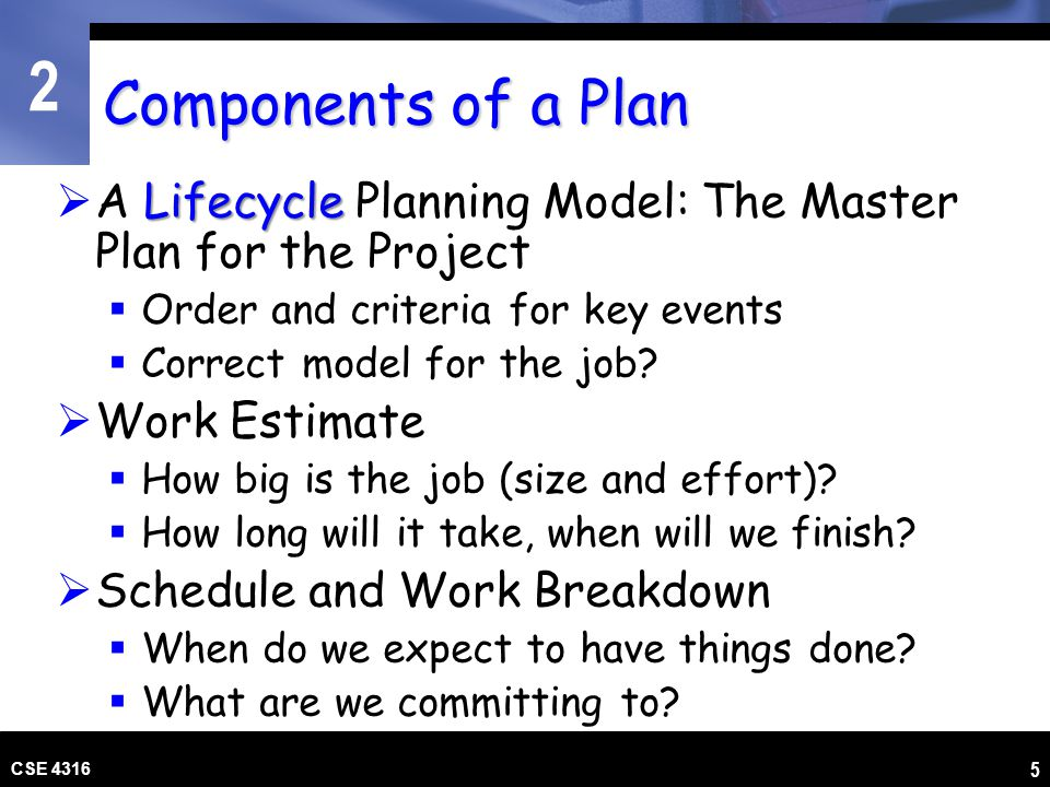 Components of a Plan A Lifecycle Planning Model: The Master Plan for the Project. Order and criteria for key events.