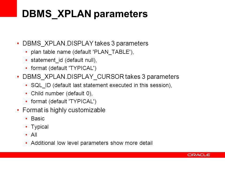 DBMS_XPLAN parameters