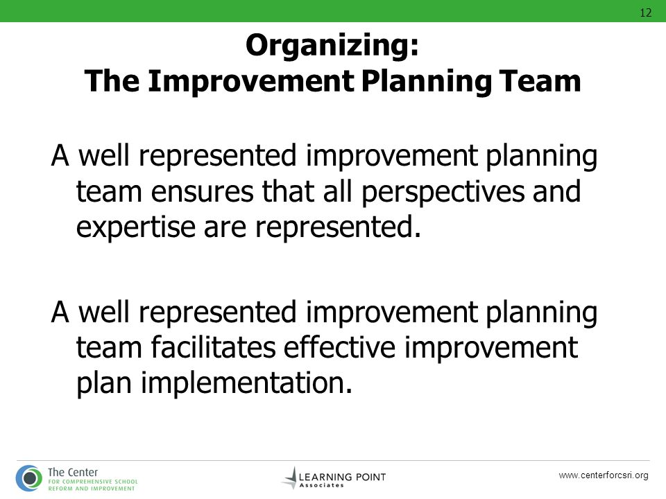 Organizing: The Improvement Planning Team
