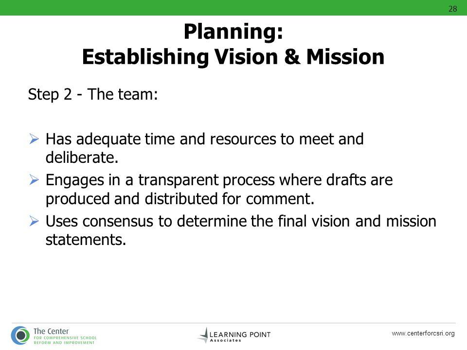 Planning: Establishing Vision & Mission