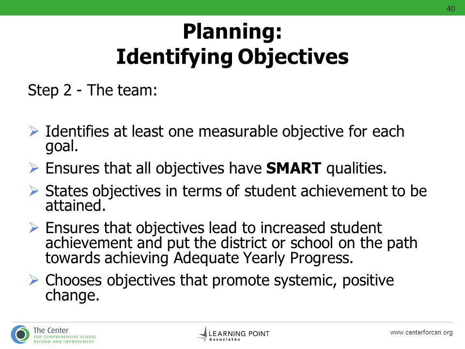 Planning: Identifying Objectives