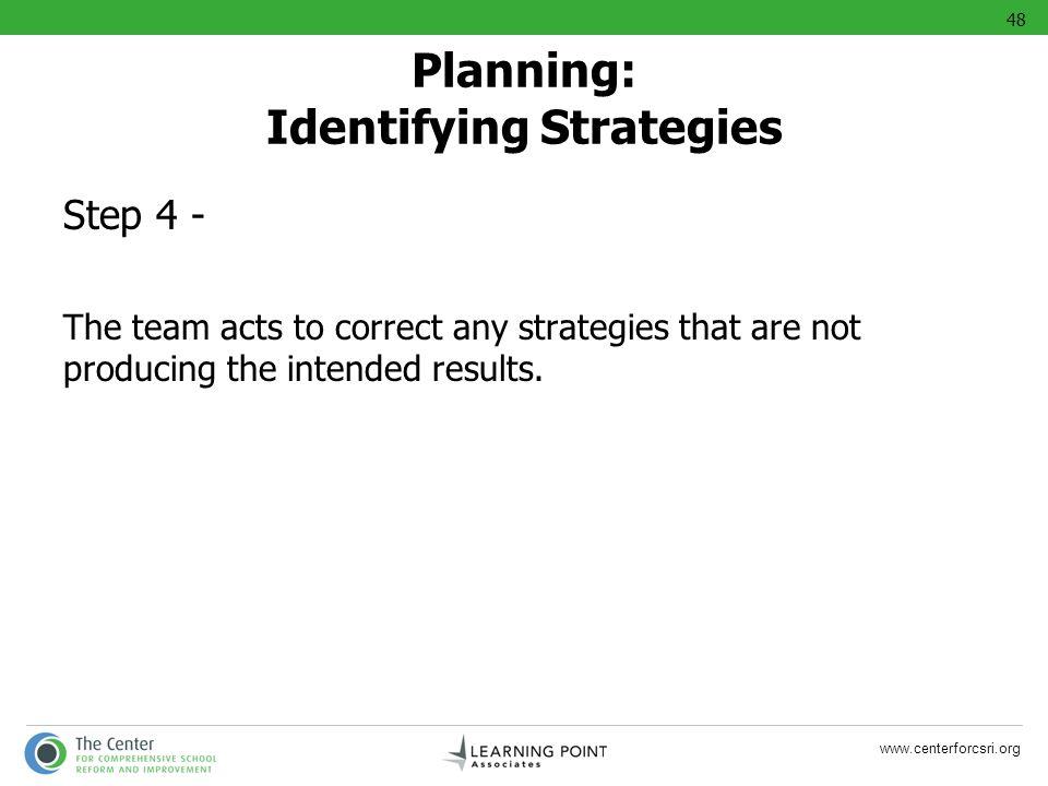 Planning: Identifying Strategies