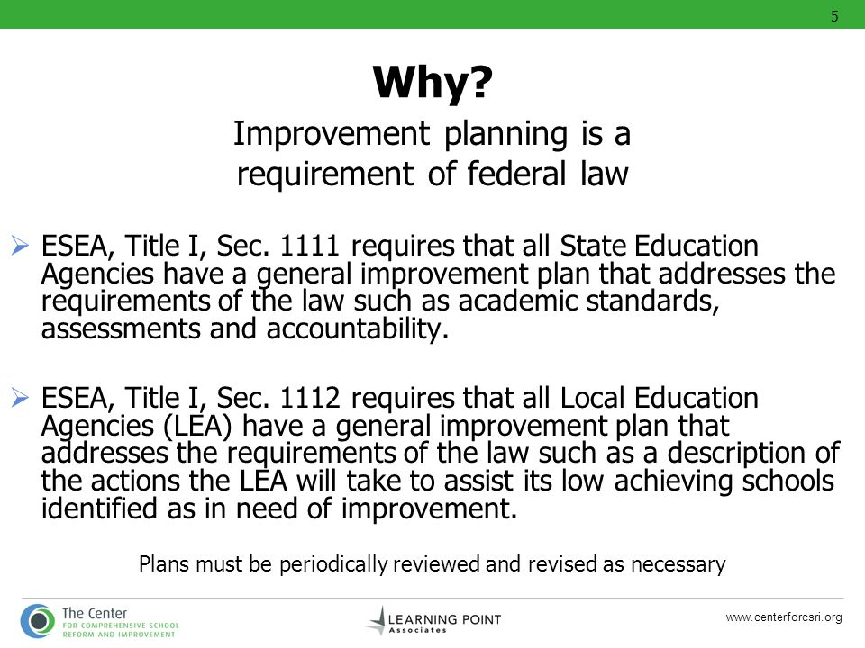 Why Improvement planning is a requirement of federal law