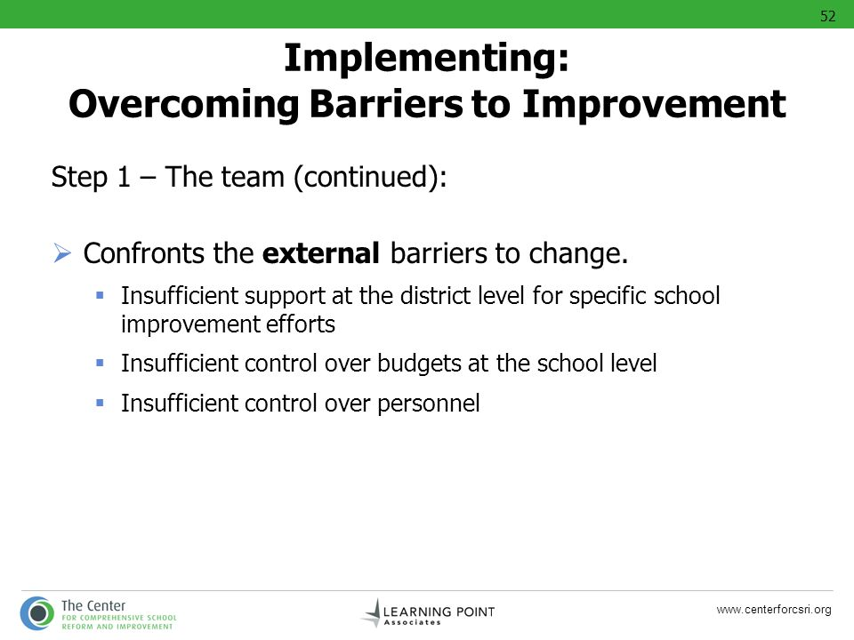 Implementing: Overcoming Barriers to Improvement