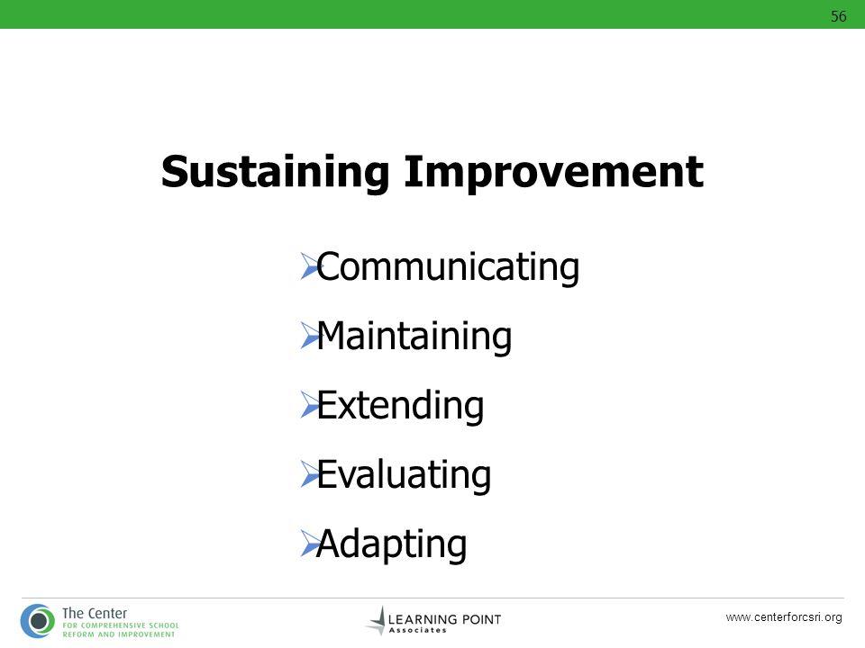 Sustaining Improvement