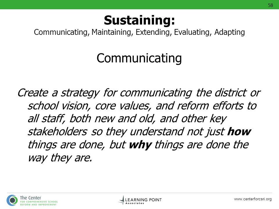 58 Sustaining: Communicating, Maintaining, Extending, Evaluating, Adapting. Communicating.