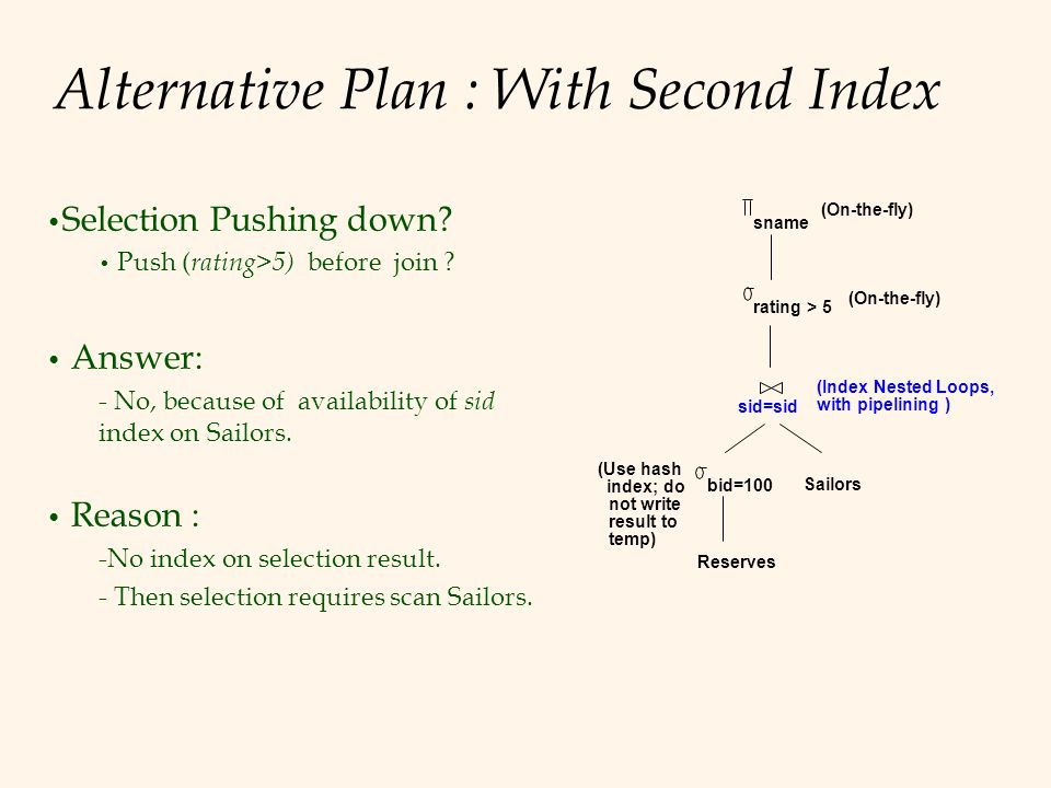 Alternative Plan : With Second Index