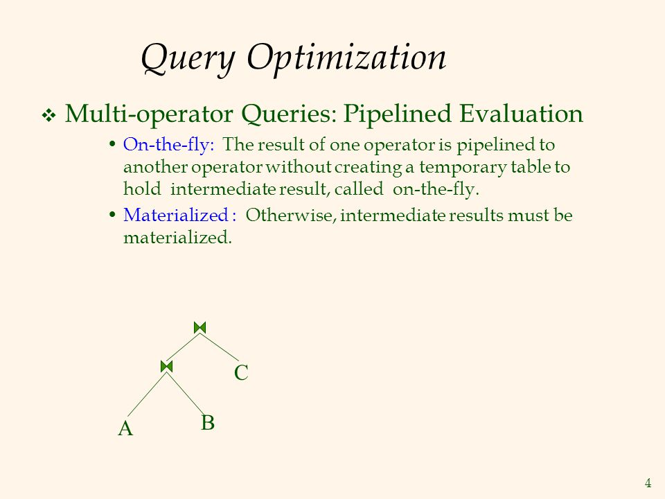 Query Optimization Multi-operator Queries: Pipelined Evaluation C B A