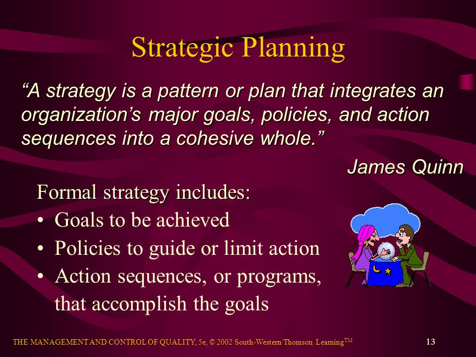 Strategic Planning Formal strategy includes: Goals to be achieved