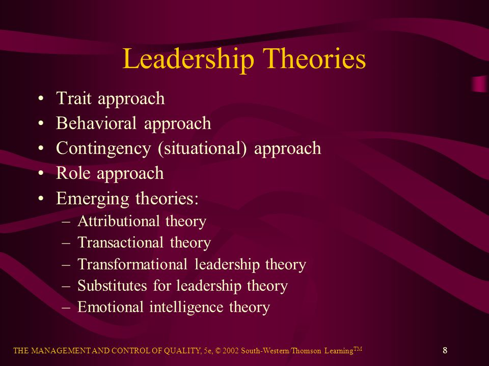 Leadership Theories Trait approach Behavioral approach