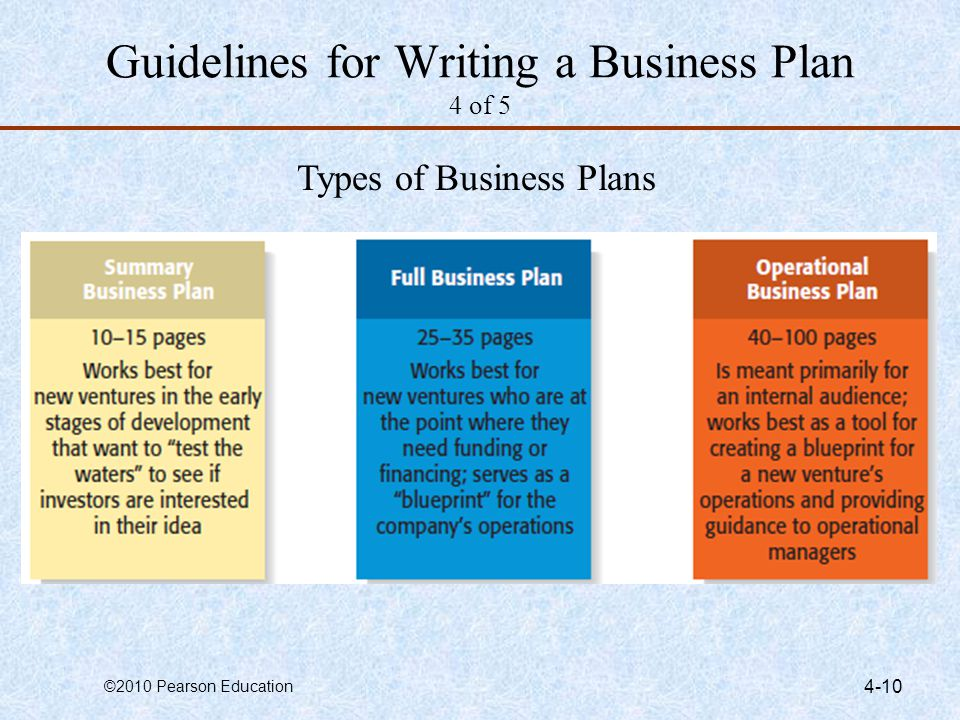 Guidelines for Writing a Business Plan 4 of 5