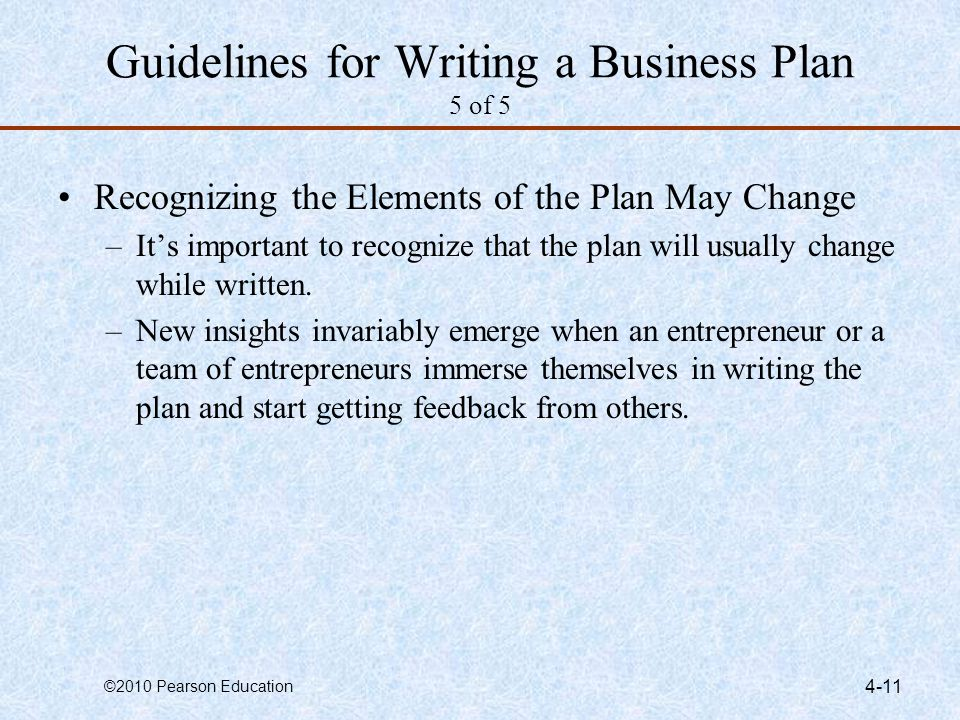 Guidelines for Writing a Business Plan 5 of 5