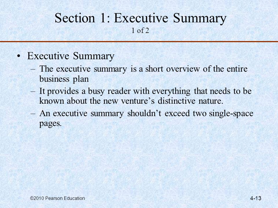 Section 1: Executive Summary 1 of 2