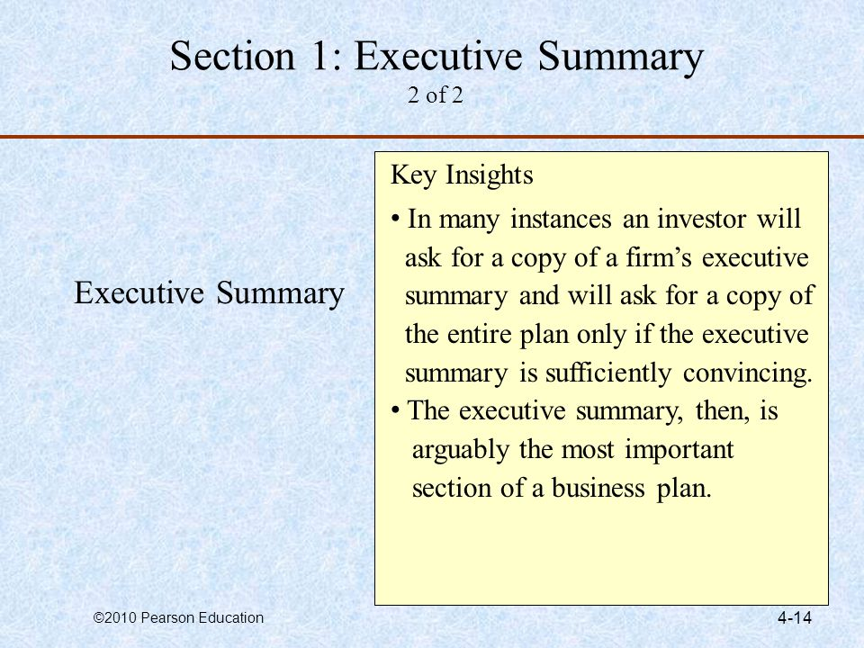 Section 1: Executive Summary 2 of 2