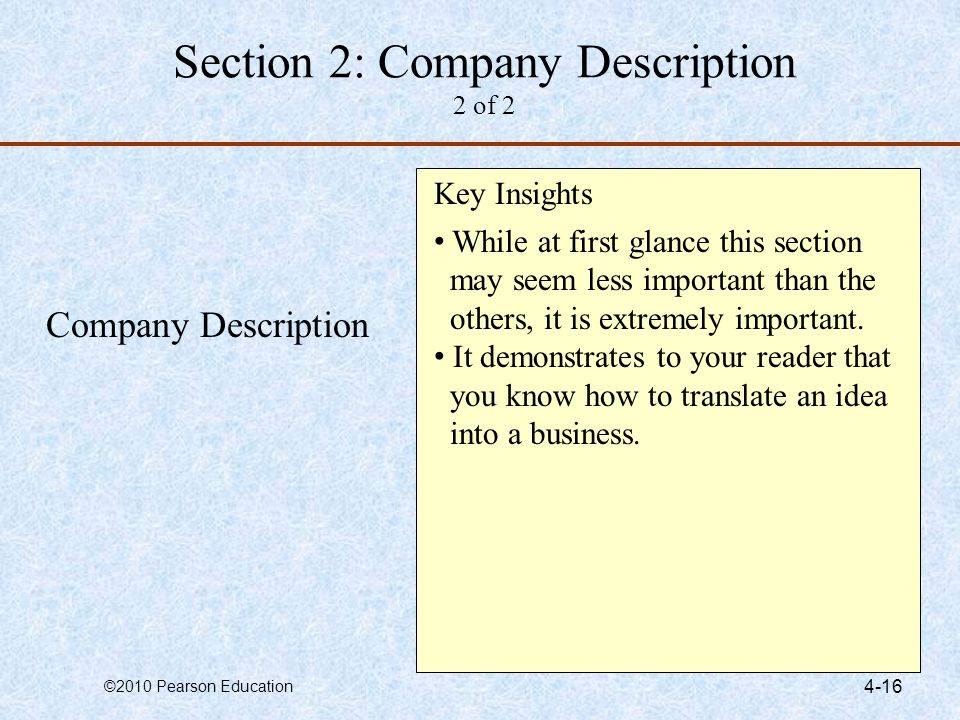Section 2: Company Description 2 of 2