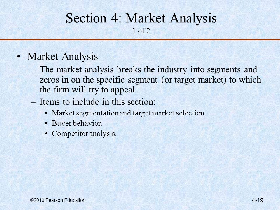 Section 4: Market Analysis 1 of 2