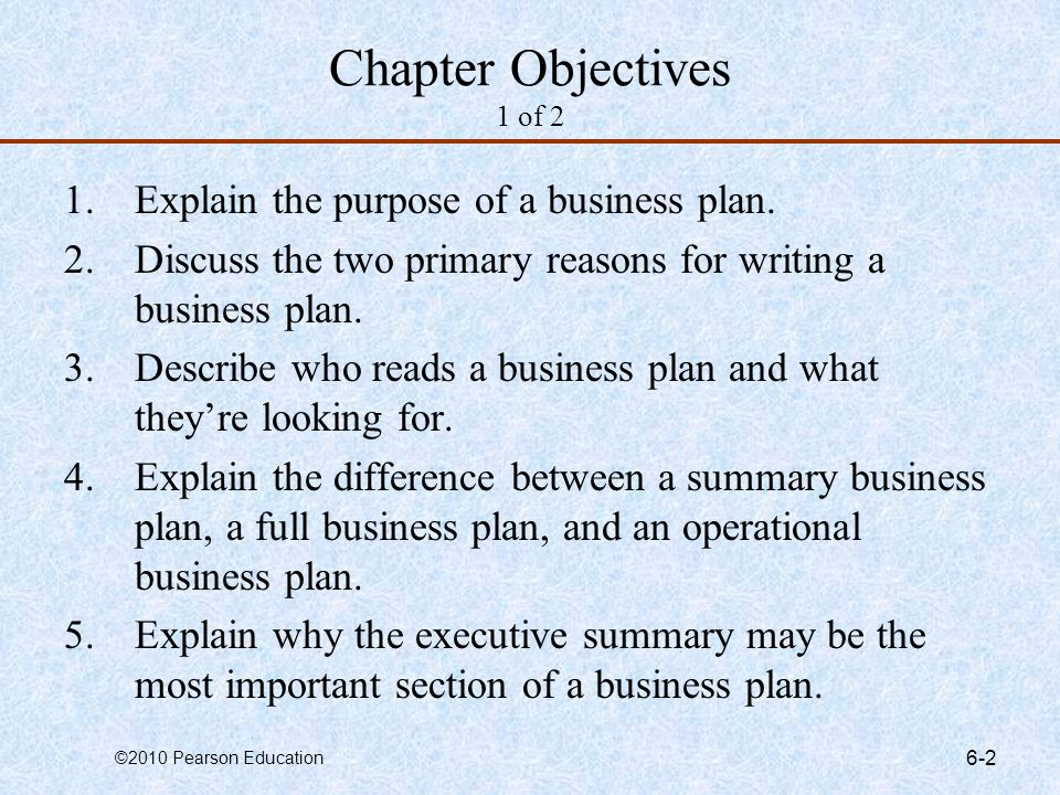 Chapter Objectives 1 of 2 Explain the purpose of a business plan.