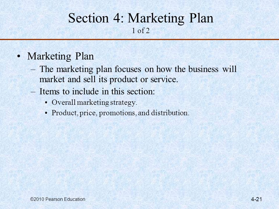 Section 4: Marketing Plan 1 of 2