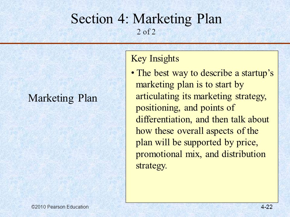 Section 4: Marketing Plan 2 of 2