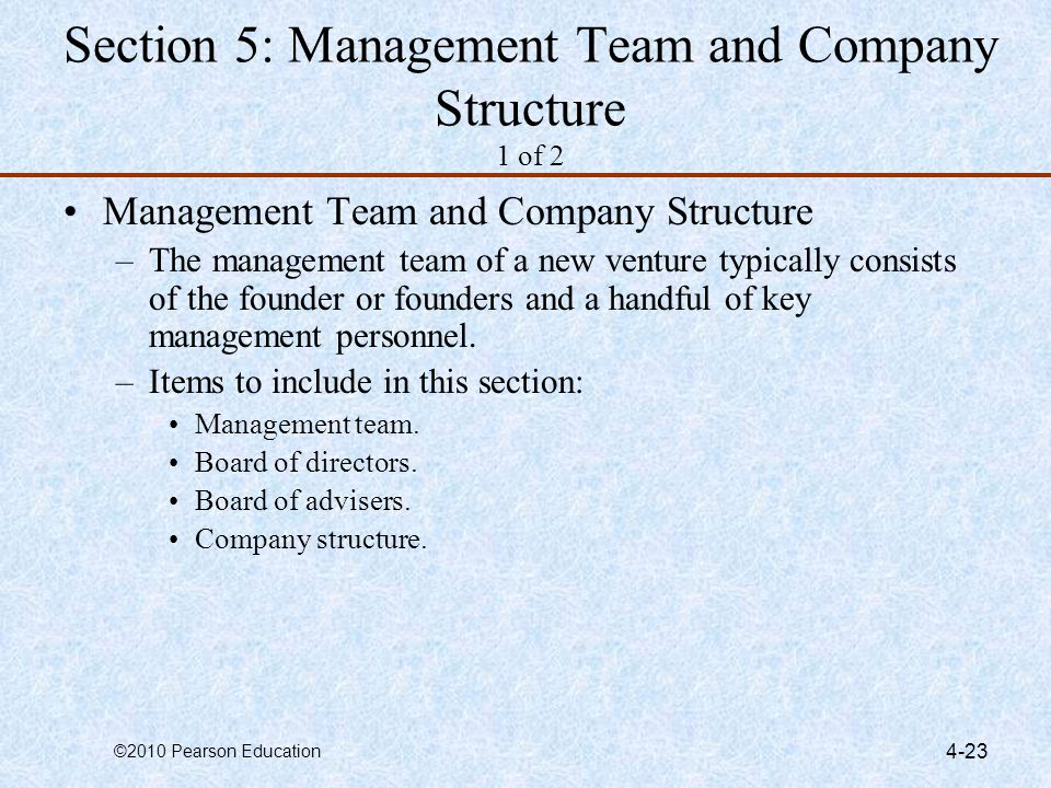 Section 5: Management Team and Company Structure 1 of 2