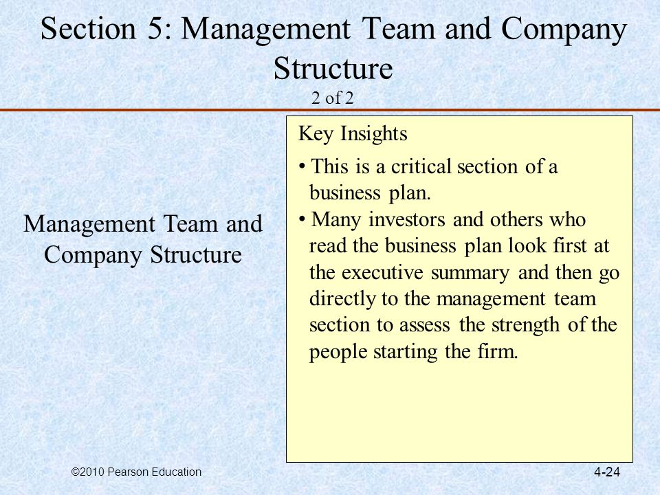 Section 5: Management Team and Company Structure 2 of 2
