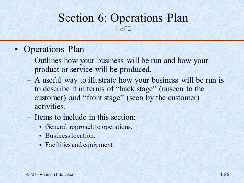 Section 6: Operations Plan 1 of 2