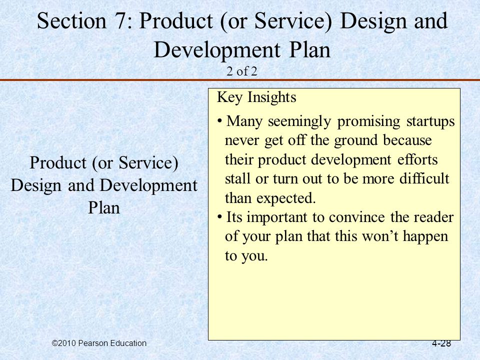 Section 7: Product (or Service) Design and Development Plan 2 of 2