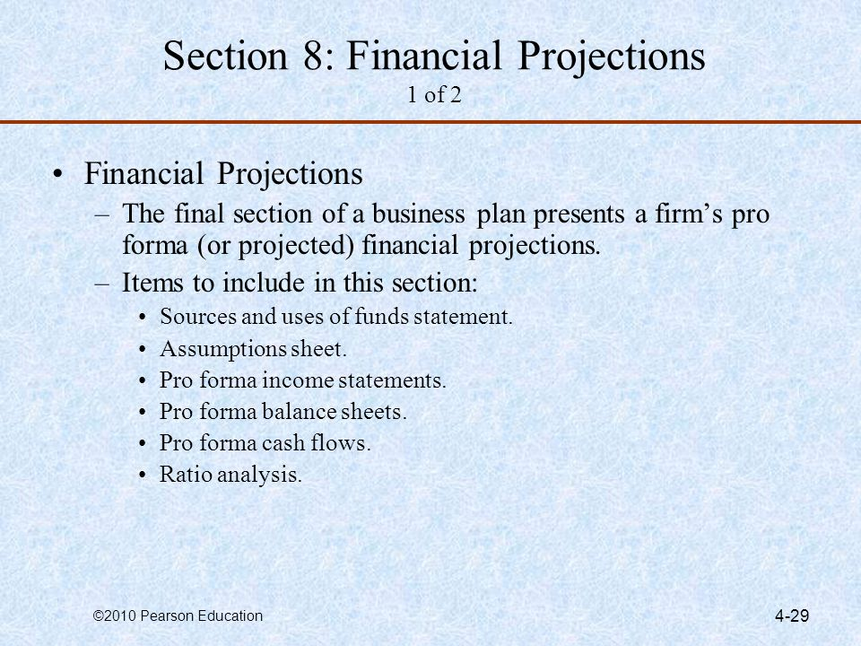 Section 8: Financial Projections 1 of 2