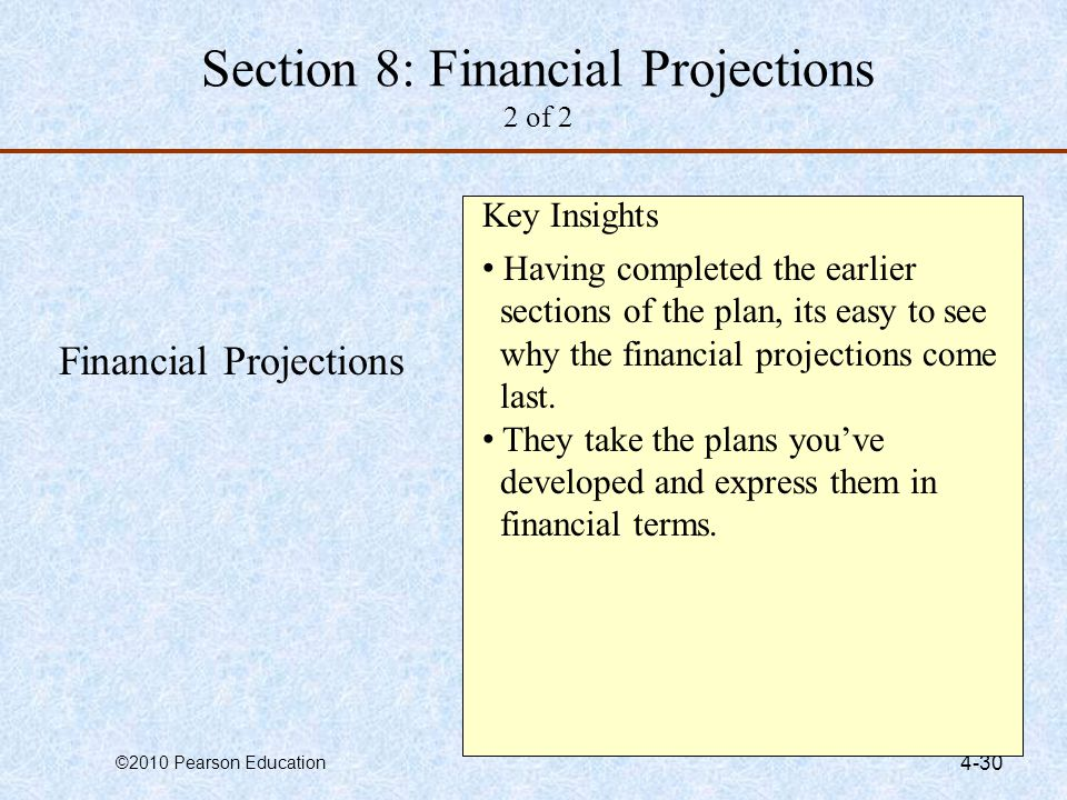 Section 8: Financial Projections 2 of 2