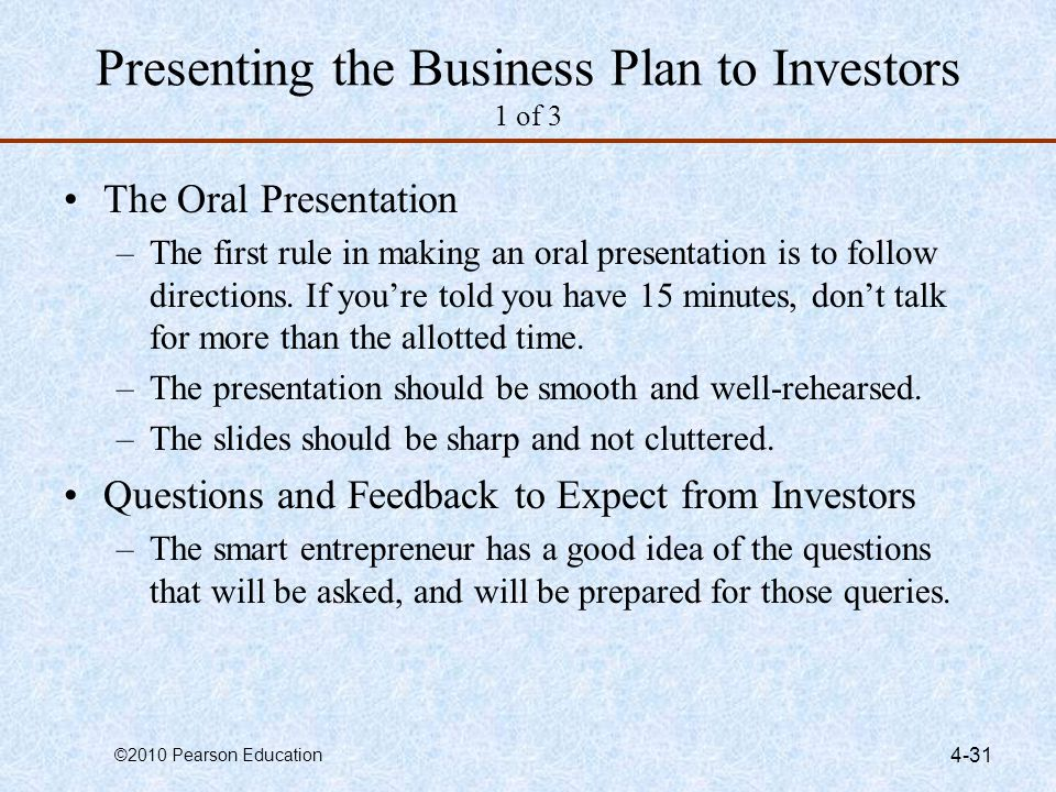 Presenting the Business Plan to Investors 1 of 3