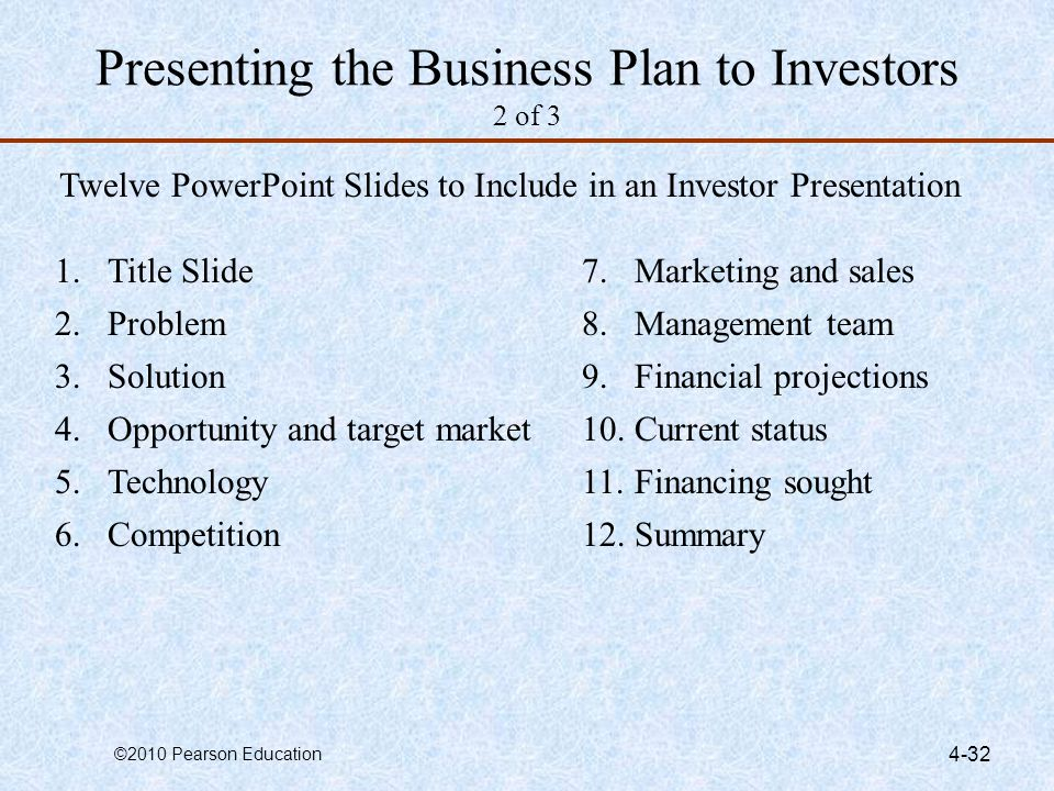 Presenting the Business Plan to Investors 2 of 3