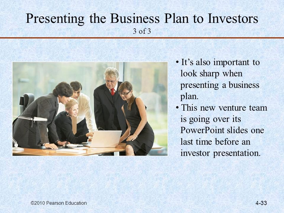 Presenting the Business Plan to Investors 3 of 3
