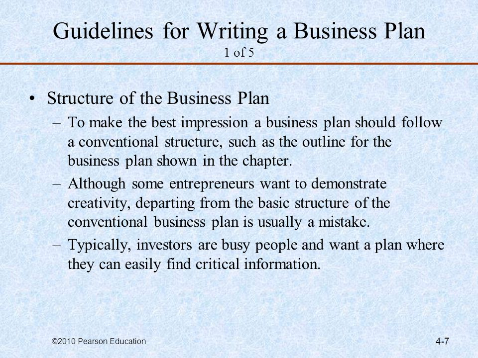 Guidelines for Writing a Business Plan 1 of 5