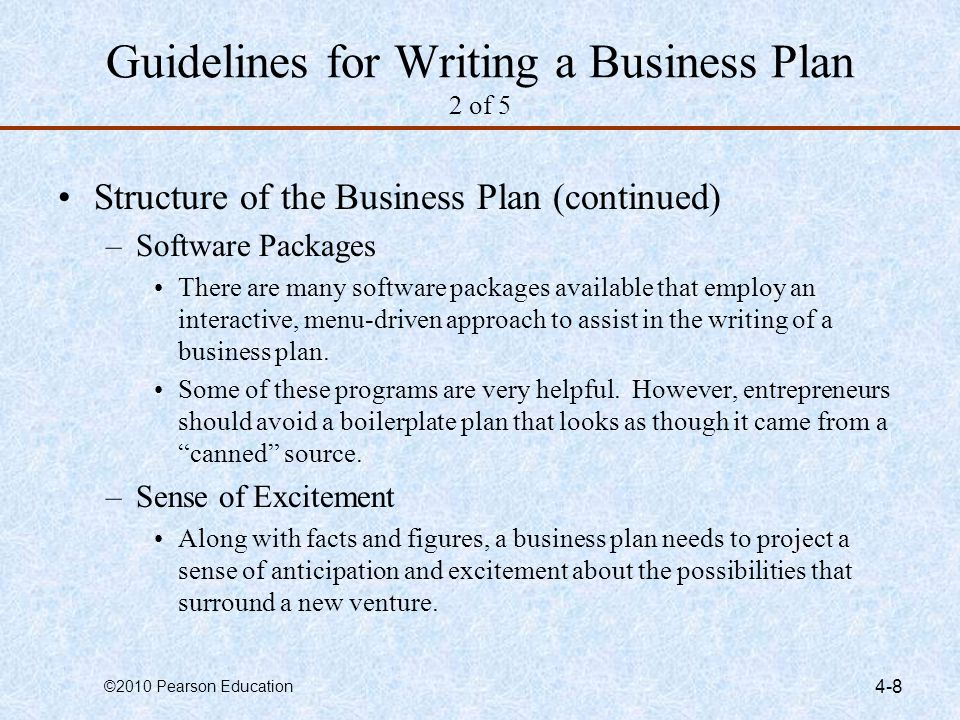 Guidelines for Writing a Business Plan 2 of 5