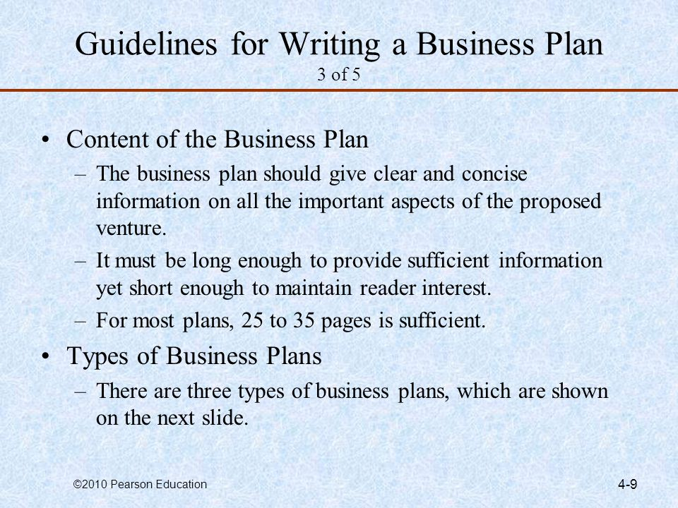 Guidelines for Writing a Business Plan 3 of 5