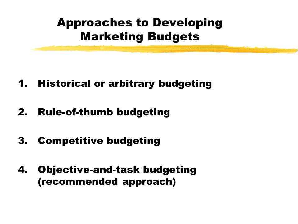 Approaches to Developing Marketing Budgets