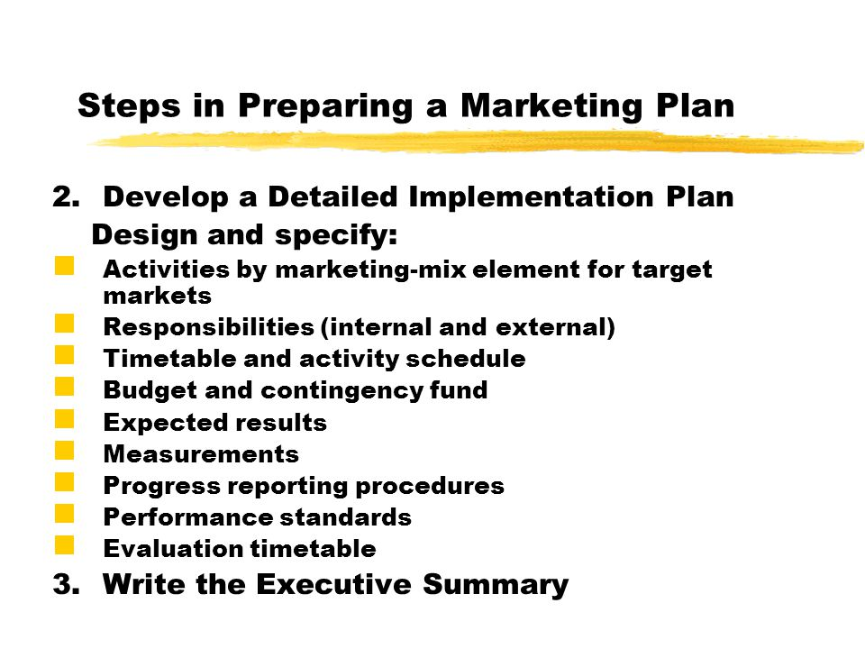 Steps in Preparing a Marketing Plan
