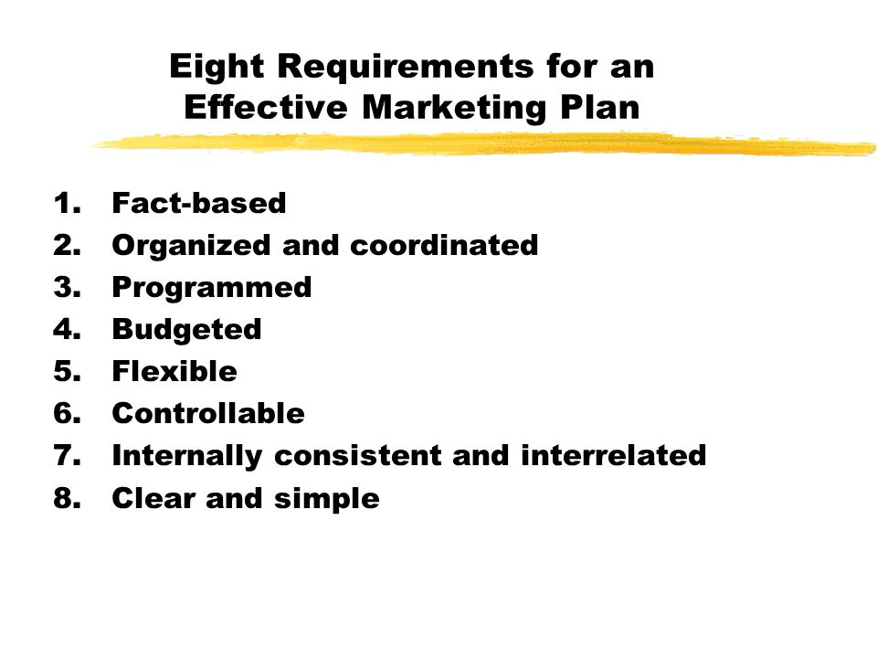 Eight Requirements for an Effective Marketing Plan