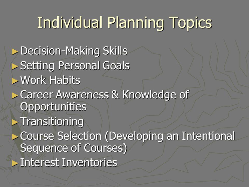 Individual Planning Topics