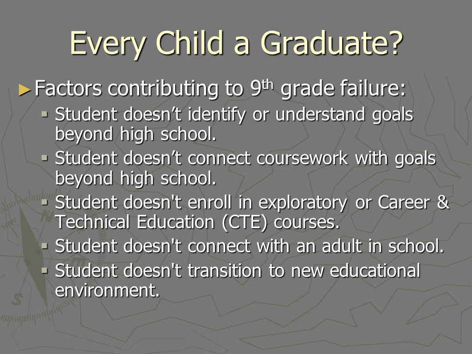 Every Child a Graduate Factors contributing to 9th grade failure: