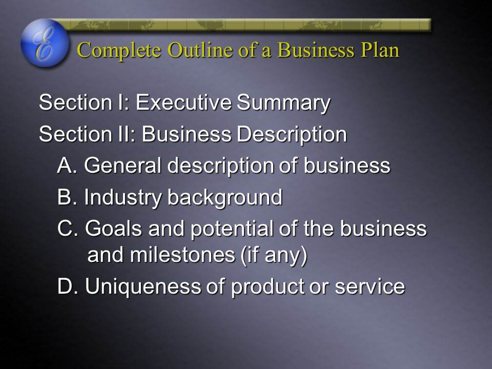 Complete Outline of a Business Plan