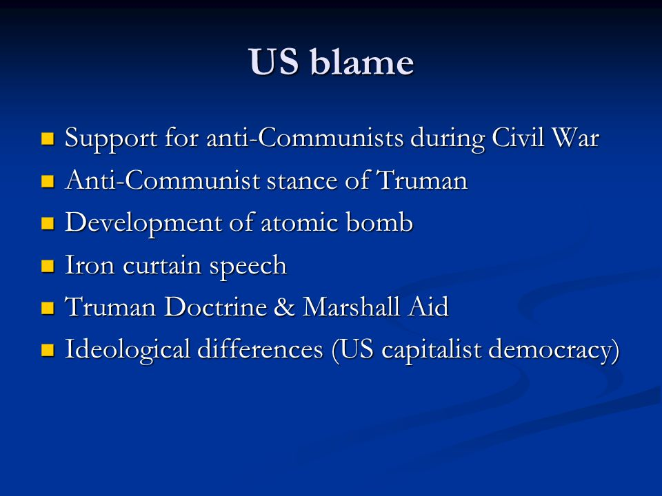 US blame Support for anti-Communists during Civil War
