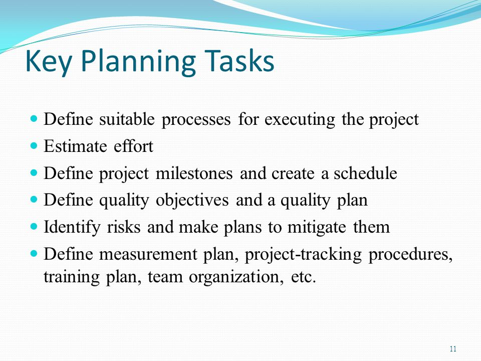 Key Planning Tasks Define suitable processes for executing the project