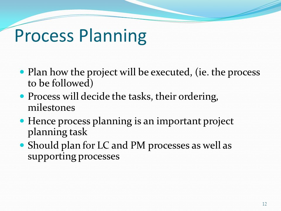 Process Planning Plan how the project will be executed, (ie. the process to be followed) Process will decide the tasks, their ordering, milestones.