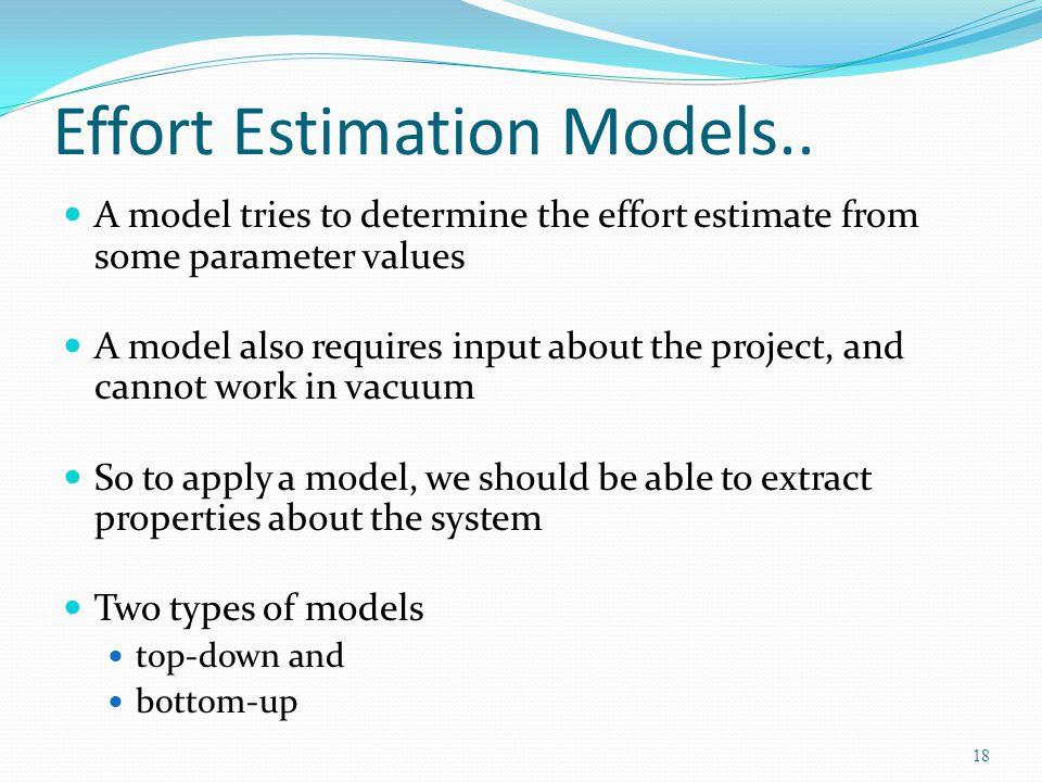 Effort Estimation Models..