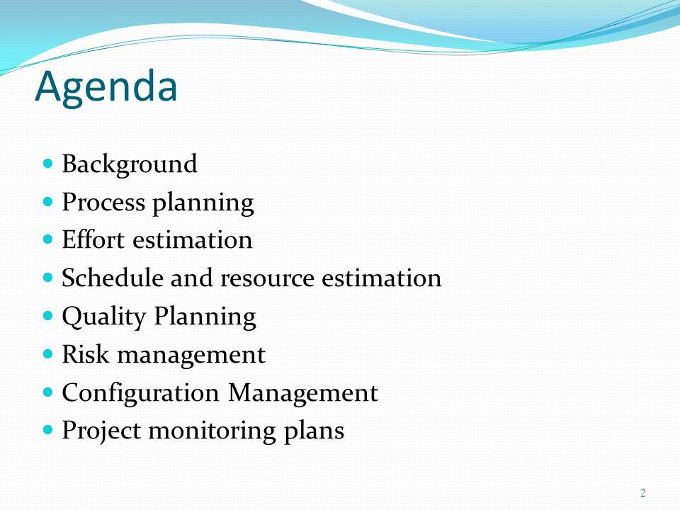 Agenda Background Process planning Effort estimation