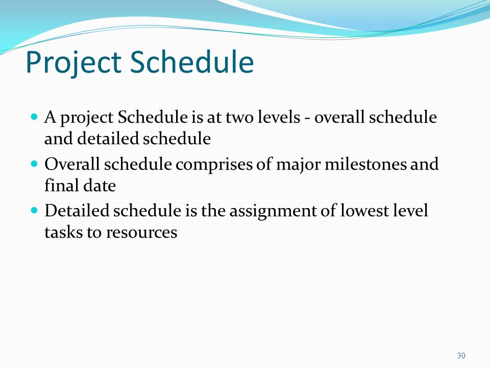 Project Schedule A project Schedule is at two levels - overall schedule and detailed schedule.