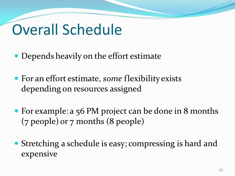 Overall Schedule Depends heavily on the effort estimate